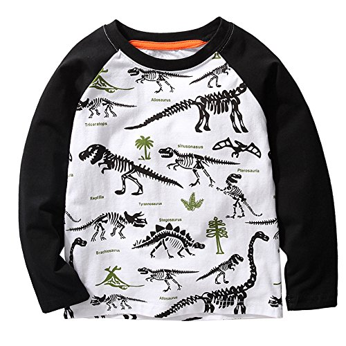 Frogwill Toddler Boys Dinosaur Long Sleeve T Shirts Top Tee Size 2-7 Years (5T, White)