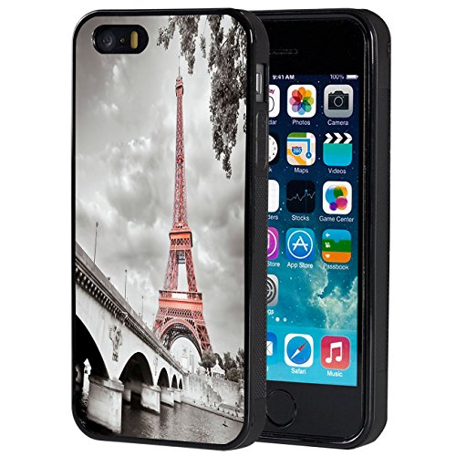 iPhone 5s Case,iPhone SE Case,AIRWEE Slim Anti-Scratch Shockproof Silicone TPU Back Protective Cover Case for iPhone 5/5s/SE,Pink Paris Eiffel Tower