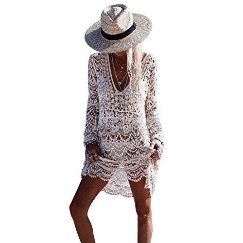 Womens' Hollow Lace Hook Cover Up Crochet Bikini Swimsuit Dress (Beige)