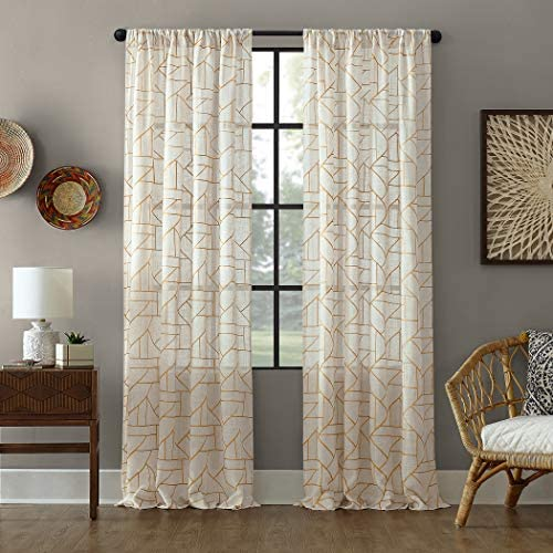 Archaeo Fragmented Geometric Embroidery Mid-Century Modern Natural Blend Curtain, 50 x 95 Panel, Gold Linen