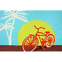Jellybean Miami Cycling Bicycle on Boardwalk Washable 21 X 33 Area Accent Rug