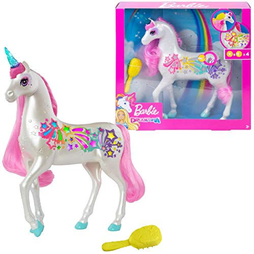 Barbie Dreamtopia Brush 'n Sparkle Unicorn with Lights and Sounds, White with Pink Mane and Tail, Gift for 3 to 7 Year…