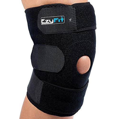 EzyFit Knee Brace Support For Arthritis, ACL, LCL, MCL, Sports Exercise, Meniscus Tear Injury Recovery – Side Stabilizers Open Patella – Best Non-Slip Comfort Fit Adjustable Neoprene Wrap – 3 Sizes