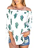 KUFV Womens Cactus Printed Off The Shoulder 3 4 Tie Cuff Blouse Casual Tops