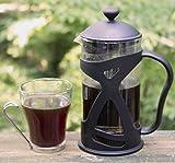 KONA French Press Small Single Serve Coffee and Tea Maker, Black 12 oz