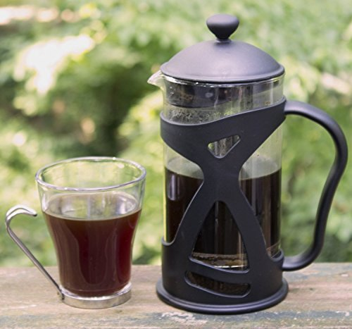 KONA French Press Coffee Maker With Reusable Stainless Steel Filter, Large Comfortable Handle & Glass Protecting Durable Black Shell by IdylcHomes KONA (Image #2)