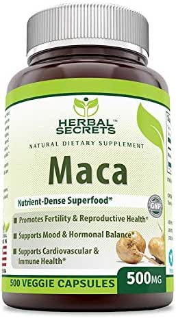 Herbal Secrets Maca 500 Mg 500 Veggie Capsules- Nutrient Dense Super Food* - Supports Reproductive Health - Energizing Herb- Support Cardiovascular & Immune Health*