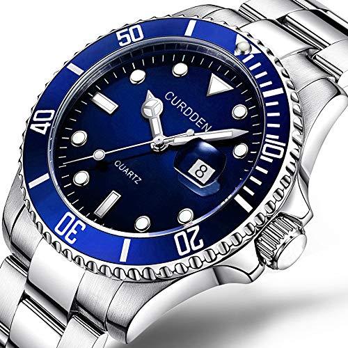 (☀ CURDDE Men Watches Fashion High-end Military Watches Stainless Steel Date Sport Quartz Analog Wrist Watch)