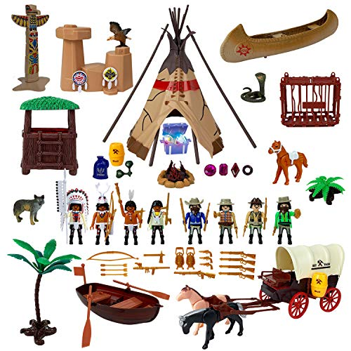 - Liberty Imports Deluxe Wild West Cowboys and Indians Plastic Figures Playset - Educational Toy Soldiers Native American Action Figurines and Accessories