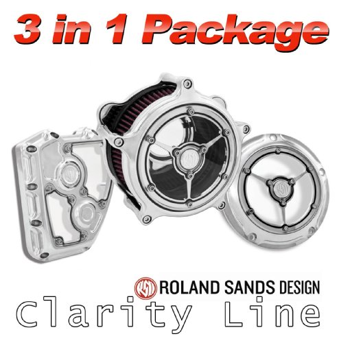 - Roland Sands Design Clarity Air Cleaner with Derby and Cam Cover - Chrome For 1999 to Present Harley Davidson Twin Cam Models