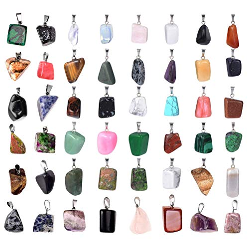 50 Pcs Irregular Charms Pendants, HOOPE Natural Mixed Healing Stone Beads Crystal Stone Pendants Quartz Charms for Necklace Jewelry Making with Storage Bag
