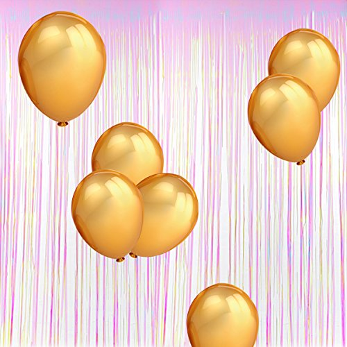 Home Kitty Foil Fringe Backdrop-Colorful White Metallic Door Window Curtain (39.4X118 inches) and 100 Pack 12 Inches Gold Color Latex Party Balloons for Parties
