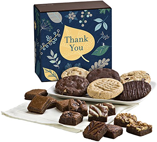 Fairytale Brownies Thank You Cookie & Magic Morsel Combo Gourmet Food Gift Basket Chocolate Box - 1.5 Inch x 1.5 Inch Bite-Size Brownies and 3.25 Inch Cookies - 18 Pieces