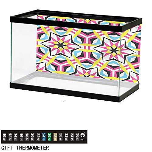 Suchashome Fish Tank Backdrop Psychedelic,Disco Geometric Stars,Aquarium Background,36