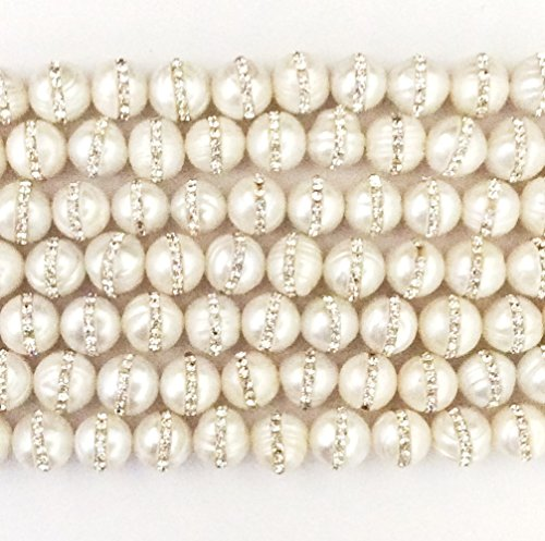 Imagine If...Gorgeous Natural Fresh Water Pearl Gemstone Round With Rhinestone Loose Beads 10mm Approxi 15 inch 35pcs 1 Strand per Bag for Jewelry Making