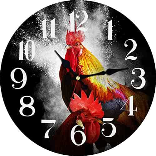 MEISTAR Battery Operated, Non-Ticking Wooden Wall Clock With chicken/dog/butterfly collector gift 16inch