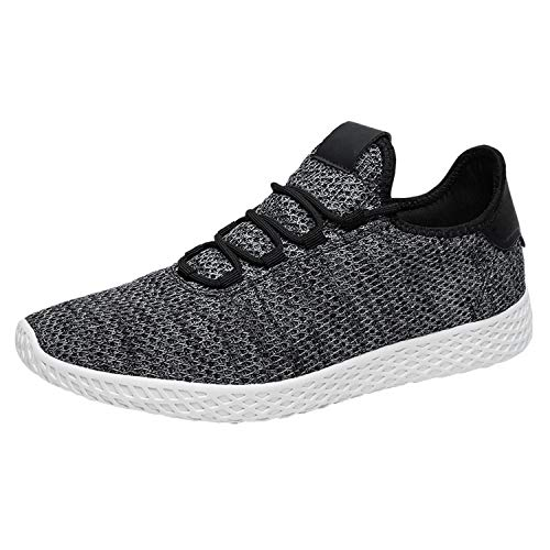Pulltop Men's Fashion Breathable Sneakers Knit Lightweight Casual Shoes Grey