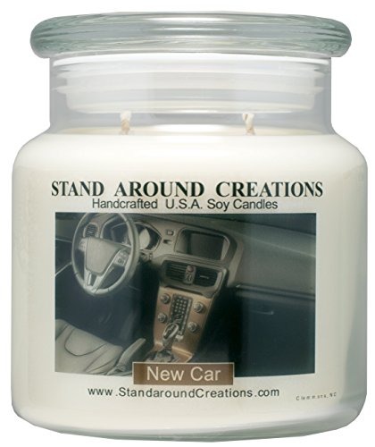 Premium 100% All Natural Soy Apothecary Candle -16 oz.- New Car - A Popular Bathroom fragrance. The smell of a new sports car w/ Italian leather seats! Naturally Strong, Highly Scented. (Italian Leather Seat)