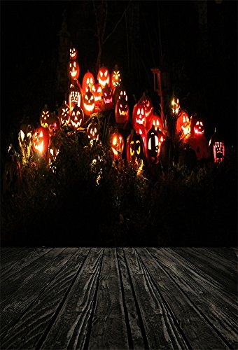 Leyiyi 6x9ft Photography Background Grunge Graffiti Wood Board Happy Halloween Party Scary Dark Forest Shining Pumpkin Lanterns Trees Horror Costume Carnival Photo Portrait Vinyl Studio Video Prop -