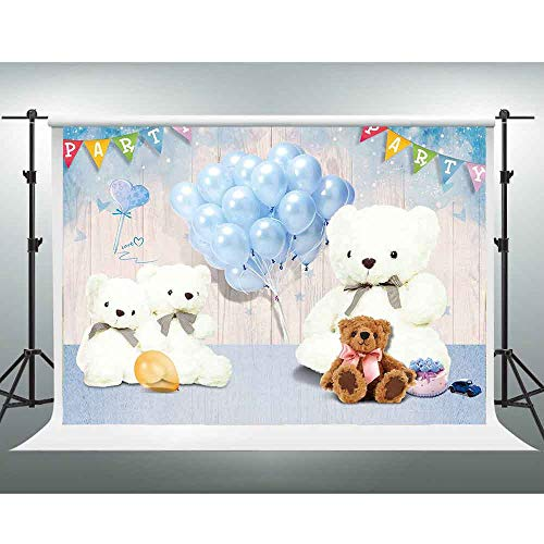 - White Teddy Bear Background,10x7ft Blue Balloon Wooden Board Photo Backdrop for Children Photography,Party Decoration Banners,Photo Booth Props LSGE486