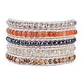 KELITCH Mix Beaded Bracelet on Leather Charming 5 Wrap Bracelet Handmade New Top Jewelry (Colorful)