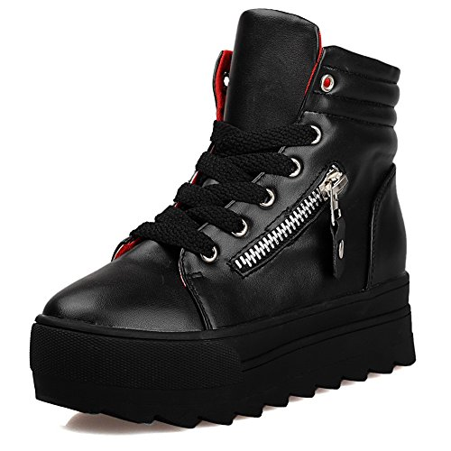 a015dc5936d on sale VogueZone009 Women s Low-top Solid Lace-up Round Closed Toe Kitten-