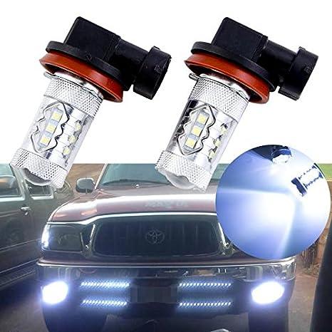 2pcs Hielo Azul 10000 K 80 W blanco frío H11 H8 H9 bombillas LED para Toyota Luces Antiniebla: Amazon.es: Coche y moto