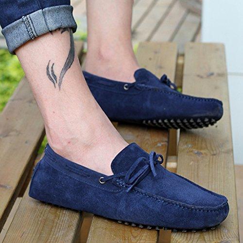 Minitoo Menneuen Knoten Suede Boat Shoes Slipper Penny Fahren, Blau - blau - Größe: 41