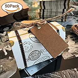 Hokic 50pcs Travel Suitcase Favor Boxes with Burlap Twine, Mini Vintage Kraft Candy Favor Boxes Gift Bags for Wedding Bridal Travel Theme Party Supplies