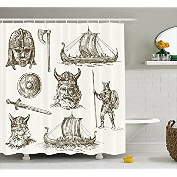 viking shower curtain by ambesonne hand drawn ancient war figures sword shield warriors mask dragon