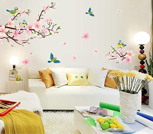 Amazon Com Bibitime Pink Peach Blossom Flowers Wall Decal Sticker Birds Stickers Home Wallpaper Removable Living Dinning Room Bedroom Kitchen Art Picture Murals Diy Size 66 93 33 46 In Home Kitchen