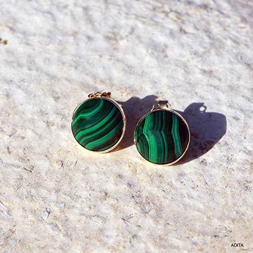 Malachite 14k Stud - Malachite Gemstone Stud Earrings Handmade 14K Solid Yellow Gold Fine Jewelry - Christmas Gift