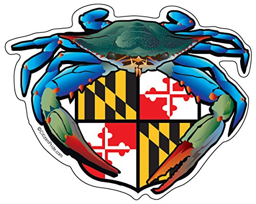 (Citizen Pride Blue Crab Maryland Crest 5x4 inches sticker decal die cut vinyl - Made in USA)