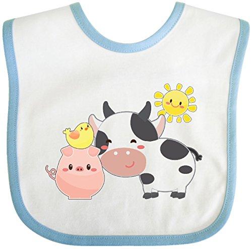 (Inktastic - Fun Farm Animals- cow, pig, chick Baby Bib White/Blue 2fbcb)