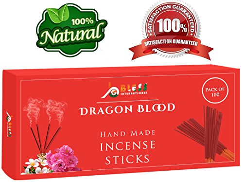 Dragon-Blood-Fragrance-Incense-Sticks 100%-Natural Handmade-Hand-Dipped The-best-scent (100 Incense Sticks)