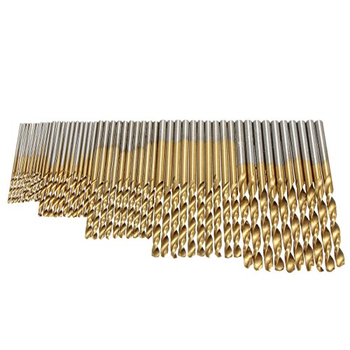 50Pcs Twist Drill Bit Set, Drillpro HSS Shank, Titanium Coated High Speed Steel, Mini Drill Bit, Micro Precision 1/1.5/2/2.5/3mm, Perfect for Wood, Plastic, Steel and Aluminum Alloy