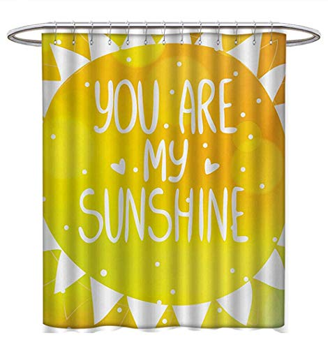 Anhuthree Quote Shower Curtain Customized Watercolor Lettering Free Spirit Starburst Inspired Doodled Icons Stars Clouds Dots Fabric Bathroom Set with Hooks W69 x L75 Multicolor