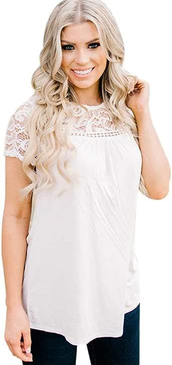 Gusspower Blusa de Encaje de Mujer Moda para Mujer Fuera de Manga Corta de Encaje Ahueca hacia Fuera la Blusa de la Camisa Ocasional: Amazon.es: Ropa y accesorios