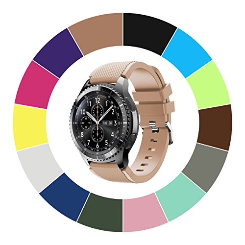 Midenso Bands for Samsung Gear S3 Frontier/Classic/Moto 360 2nd Gen 46mm Watch Silicone Bracelet, Sports Silicone Band Strap Replacement Wristband for Samsung Gear S3 Frontier / S3 Classic (Khaki)