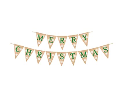 amazon com merry christmas banners bunting garlands party banner