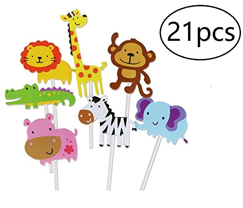 (Animal Cupcake Toppers Jungle Animals Cake Toppers for Kids Baby Shower Birthday Party Cake Decoration,21pcs)