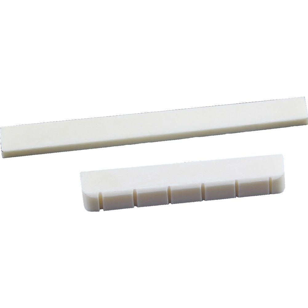 TOOGOO(R) White Guitar Parts 6 String Classical Guitar Bone Bridge Saddle And Nut Ivory Set 045957