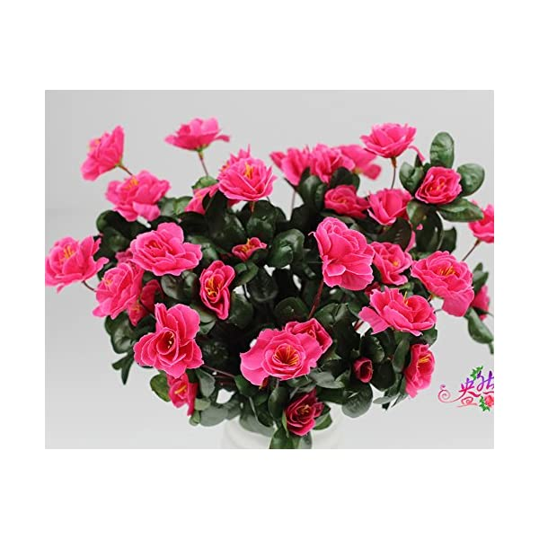 Lopkey Outdoor Silk Artificial Red Azalea Bush,Rose Red (3pack)