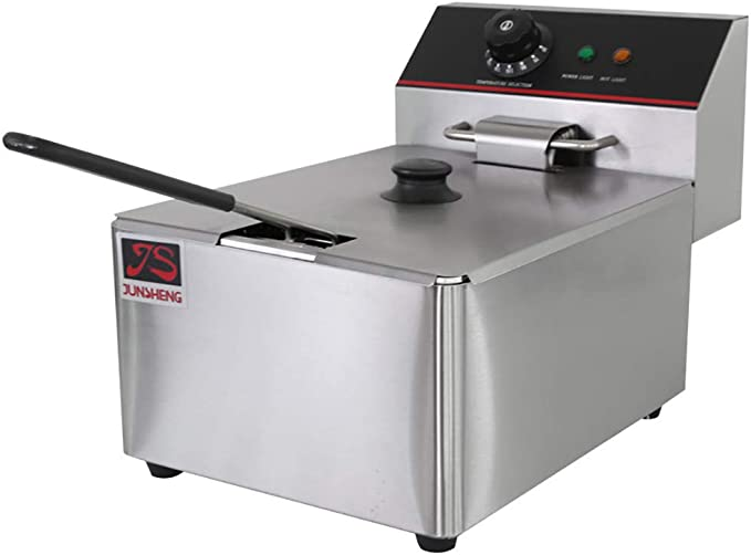 Deep Fryer Freidora Eléctrica 12L 5000W Freidora Industrial Acero Inoxidable para Patatas Fritas Commercial (6L + 6L Tanque con Accesorios): Amazon.es