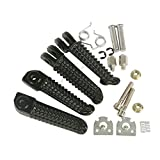TCMT Front Rear Footrests Foot Pegs Fits For Yamaha YZF R1 2002-2014 R6 2003-2012 04 09 10 (Black)