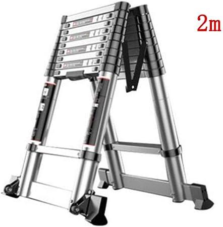ZPWSNH Escalera telescópica para Uso doméstico, sección de bambú portátil, Subida y Bajada Escalera de ingeniería ático Escalera en Espiga Escalera de Aluminio de Doble Cara Taburete (Size : 2m+2m): Amazon.es: Hogar