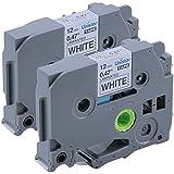 Ptouch TZ Tape, 12mm Label Maker Tapes TZe-231 TZe 231 for Brother p-touch PTH110/PT-D200/PTD600/Pt-d400, Standard Laminated Black on White 26.2 Feet Roll, 2-Pack
