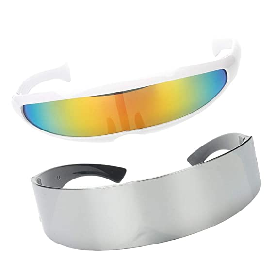 B Baosity 2x Gafas de Sol Rainbow Color Brillante Futurista Soldado Space Alien Robot Obras de Arte Material Decorativo