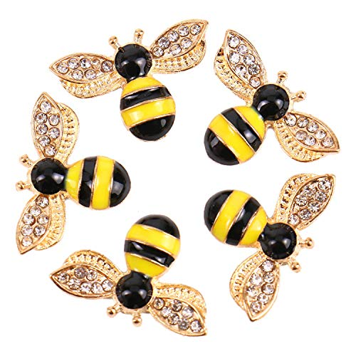 Monrocco 20 Pieces Enamel Bee Charm Pendants with Rhinestone, Honeybee Charms Pendants Crafting for DIY Necklace Bracelet - Charm Enamel Bee