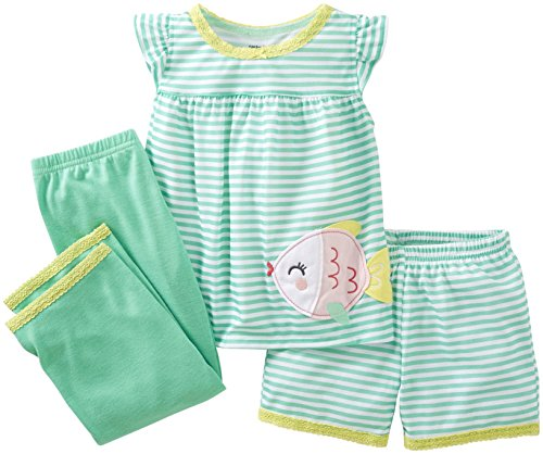 Carter's Baby Girls' 3 Piece Striped Set (Baby) - Fish - 24 (Green Striped Fish)